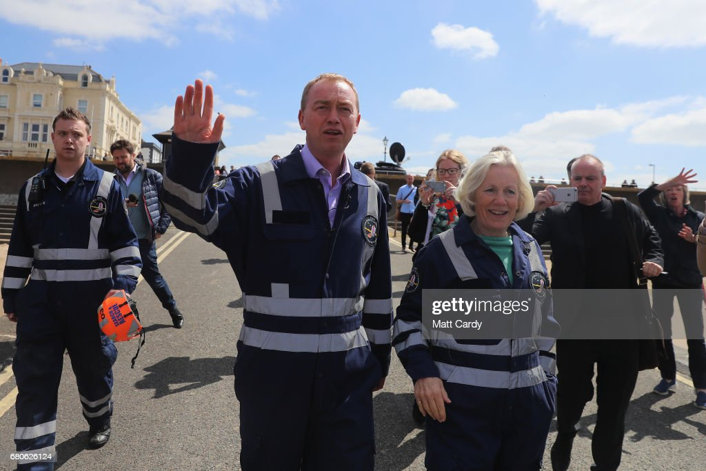 Leader of the Liberal Democrats Tim Farron campaigns with Tessa Munt MP at a volunteer-run Rescue Boat Service on May 9, 2017 at Burnham-on-Sea, England. Campaigning is underway ahead of the June 8th general election.