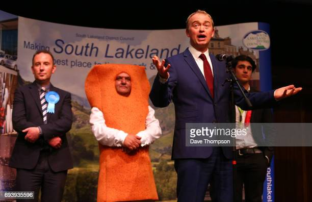 Leader of the Liberal democrats Tim Farron celebrates beating Conservative party candidate James Airey Independent candidate Mr Fishfinger and Labour...