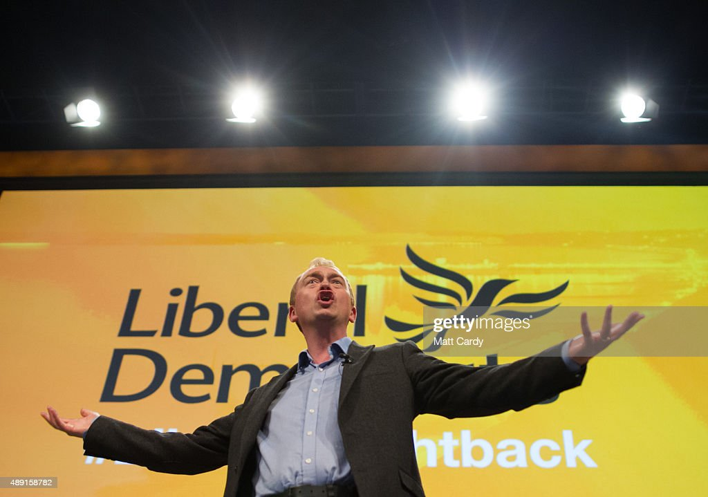 Leader of the Liberal Democrats Tim Farron speaks at a Members' Rally on the first day of the Liberal Democrats annual conference on September 19, 2015 in Bournemouth, England. The Liberal Democrats are currently holding their annual conference using the hashtag #LibDemfightback in Bournemouth. The conference is the first since the party lost all but eight of its MPs in May's UK general election, however after gaining 20,000 new members since May the party is expecting a record attendance at the event being held at the Bournemouth International Centre.