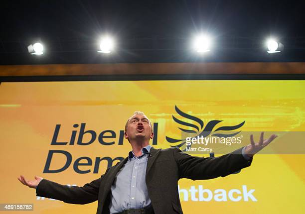 Leader of the Liberal Democrats Tim Farron speaks at a Members' Rally on the first day of the Liberal Democrats annual conference on September 19...