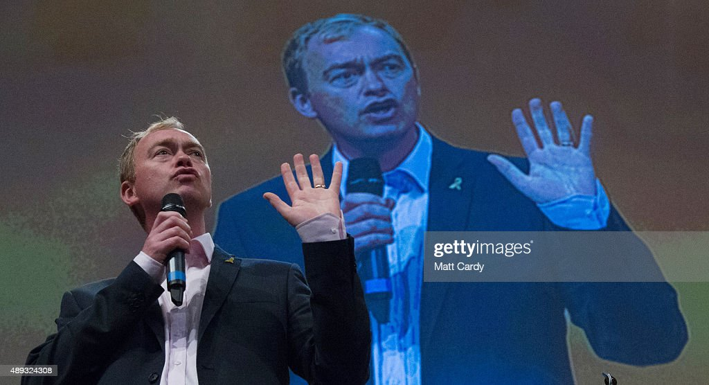 Leader of the Liberal Democrats Tim Farron speaks on the second day of the Liberal Democrats annual conference on September 20, 2015 in Bournemouth, England. The Liberal Democrats are currently holding their annual conference using the hashtag #LibDemfightback in Bournemouth. The conference is the first since the party lost all but eight of its MPs in MayÕs UK general election, however after gaining 20,000 new members since May the party is expecting a record attendance at the event being held at the Bournemouth International Centre.