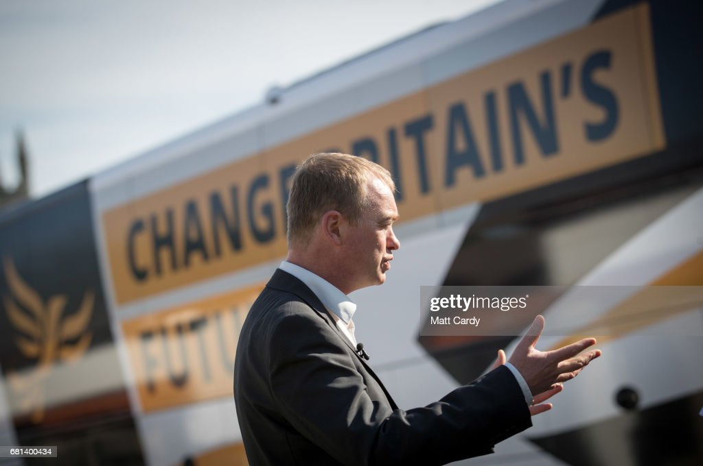 Leader of the Liberal Democrats Tim Farron speaks with the media as he visits Lewannick Primary School near Launceston on May 10, 2017 in Cornwall, England. The Liberal Democrat leader's visit to the school in the North Cornwall parliamentary constituency was used to unveil the party's education funding policy as part of their general election manifesto.