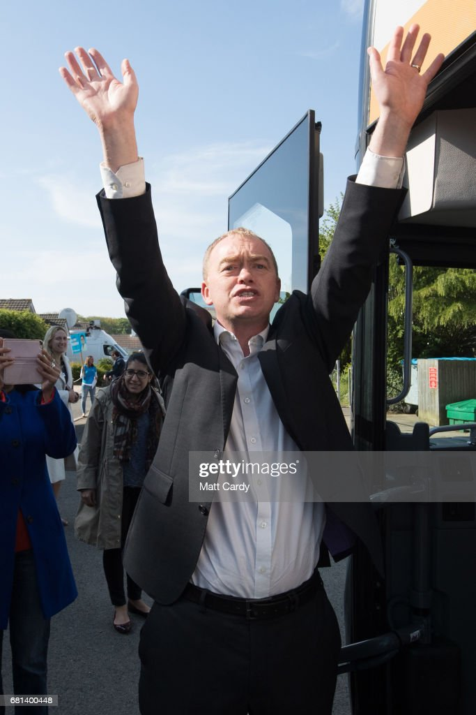 Leader of the Liberal Democrats Tim Farron waves as he visits Lewannick Primary School near Launceston on May 10, 2017 in Cornwall, England. The Liberal Democrat leader's visit to the school in the North Cornwall parliamentary constituency was used to unveil the party's education funding policy as part of their general election manifesto.