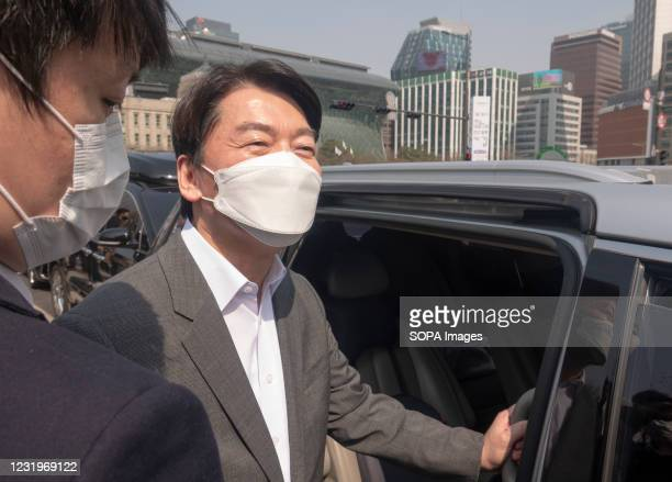 Leader of the minor conservative People's Party, Ahn Cheol-Soo leaves after attending a campaign rally of Oh Se-Hoon , South Korean conservative and...