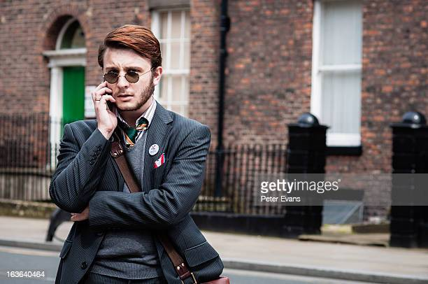 CONTENT] Leader of the National Culturalist party street reportage photography shot taken following their political march in Liverpool