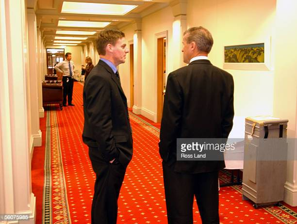 Leader of the National Party Bill English with new front bencher and Associate Minister of Finance David Carter outside the National Party caucus...