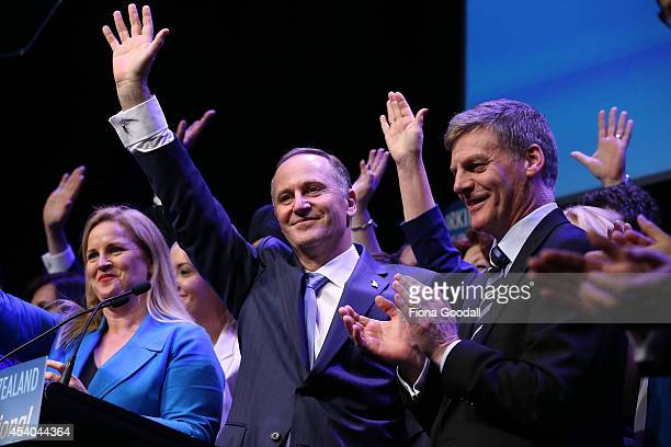 Leader of the National Party John Key and deputy leader Bill English officially launches the National Party campaign at Vodafone Events Centre...