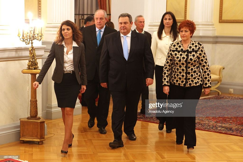 Civil oath ceremony of the new government at presidential palace in Athens : News Photo