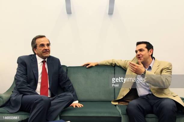 Leader of the New Democracy conservative party Antonis Samaras meets with Greece's Syriza party leader Alexis Tsipras in an attempt to form a...