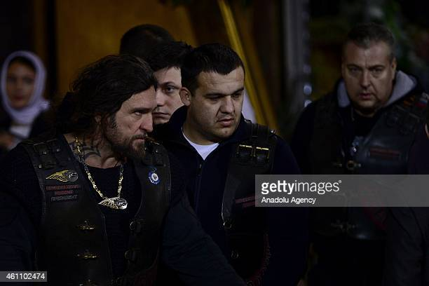 Leader of the Night Wolves bikers club Alexander Zaldostanov attend the Christmas Eve mass leaded by Russian Patriarch Kirill at the Christ the...