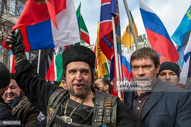 Leader of the Night Wolves bikers club Surgeon Alexander Zaldostanov and former candidate in the 2014 Ukrainian presidential election Oleg Tsarev...