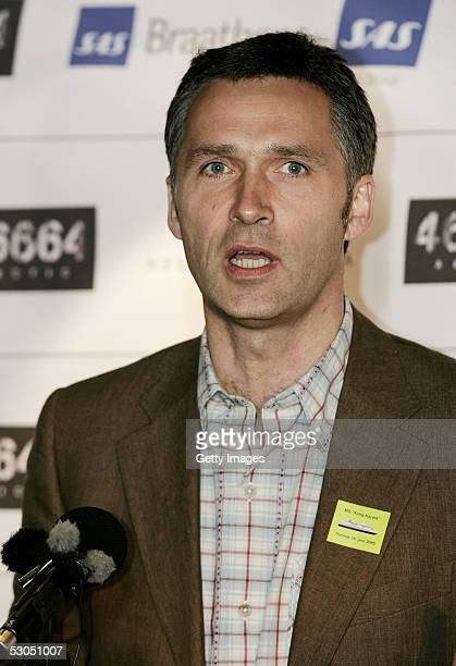 Leader of the Norwegian Labour party Jens Stoltenberg speaks at a press conference ahead of 46664 Arctic concert on the costal ship MS Kong Harald on...