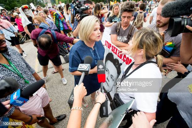 Leader of the official opposition Andrea Horwath speaks with a woman who identified herself as Linda who is for the 1998 curriculum Students and...