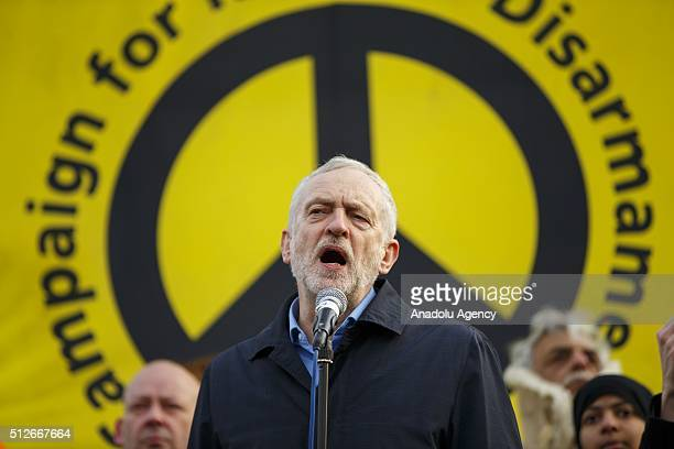 Leader of the Opposition and leader of Labour Party Jeremy Corbyn speaking to a mass rally protesting against Britain's nuclear weapons system...