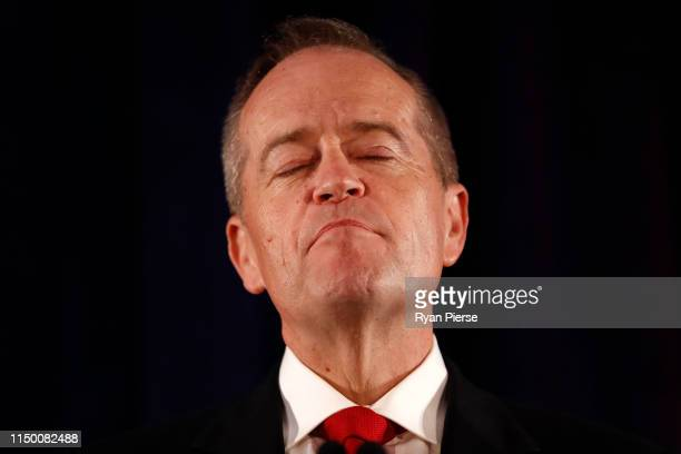 Leader of the Opposition and Leader of the Labor Party Bill Shorten flanked by his wife Chloe Shorten concedes defeat following the results of the...