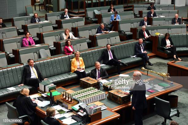 Leader of the Opposition Anthony Albanese and Prime Minister Scott Morrison during Question Time in the House of Representatives at Parliament House...