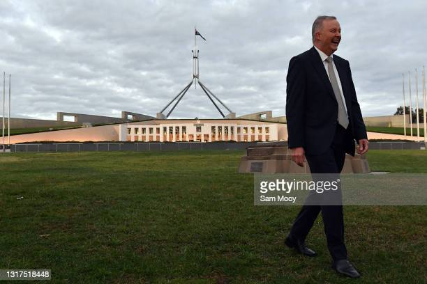 Leader of the Opposition Anthony Albanese arrives for morning television interviews on the front lawn at Parliament House on May 12, 2021 in...
