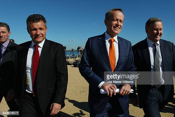 Leader of the Opposition Australian Labor Party Bill Shorten and Shadow Minister for Infrastructure and Transport Anthony Albanese leave a media...
