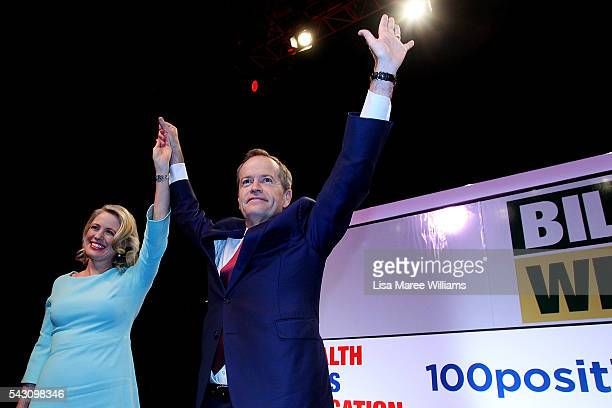 Leader of the Opposition Australian Labor Party Bill Shorten and wife Chloe Shorten raise their arms in the air during the Queensland Labor Campaign...