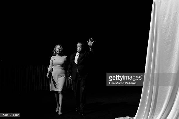 Leader of the Opposition Australian Labor Party Bill Shorten and wife Chloe Shorten arrive at the Queensland Labor Campaign Launch at the Brisbane...