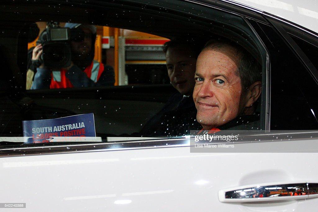 Leader of the Opposition, Australian Labor Party, Bill Shorten leaves in his car following a tour of a rail manufacturing facility on June 23, 2016 in Adelaide, Australia. Labor's Positive Plan for South Australia will include $500m for the AdeLINK tram project, funding for schools and hospitals and a $100 million for local steelmaker Arrium.