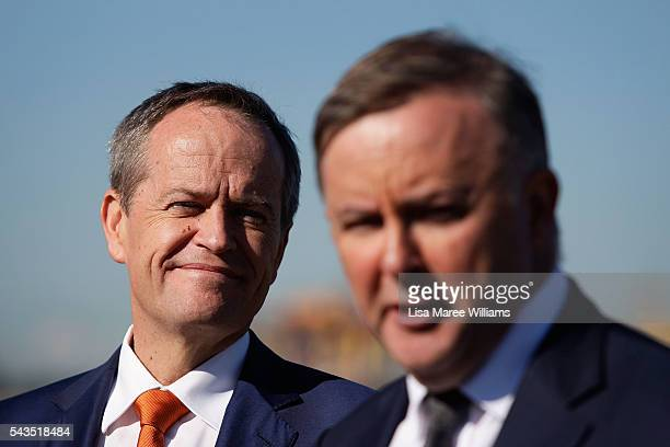 Leader of the Opposition Australian Labor Party Bill Shorten looks on as Anthony Albanese speaks with the media at Port Botany on June 29 2016 in...