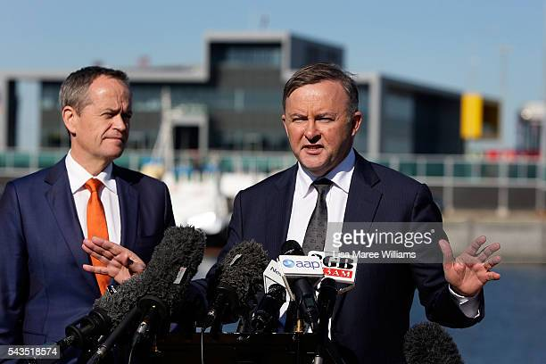 Leader of the Opposition Australian Labor Party Bill Shorten looks on as Shadow Minister for Infrastructure and Transport Anthony Albanese speaks...
