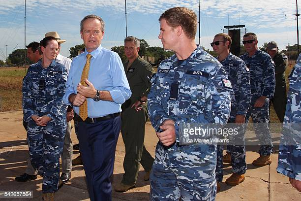 Leader of the Opposition Australian Labor Party Bill Shorten tours the Mobile Controlling Reporting Unit at Darwin RAAF Base on June 24 2016 in...