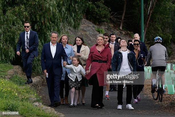 Leader of the Opposition Australian Labor Party Bill Shorten wife Chloe Shorten and family Clementine Alexandra Georgette and Rupert arrive at...