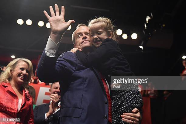 Leader of the Opposition Bill Shorten and daughter Clementine at the Labor campaign launch at the Joan Sutherland Performing Arts Centre as part of...