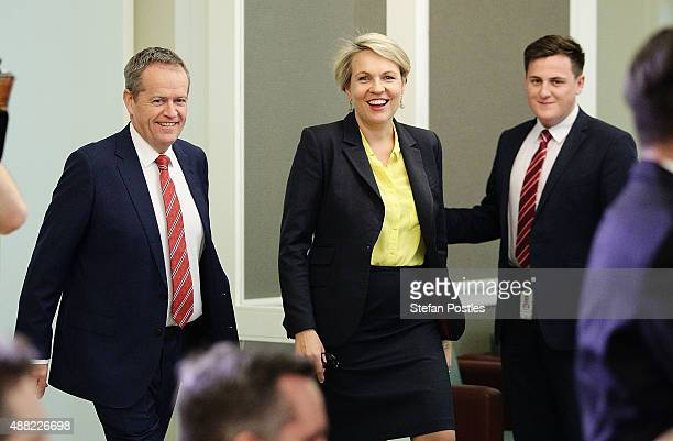 Leader of the Opposition Bill Shorten and Deputy Leader of the Opposition Tanya Plibersek arrive at a Labor Party caucus meeting at Parliament House...