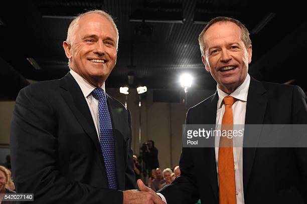 Leader of the Opposition Bill Shorten and Prime Minister Malcolm Turnbull shake hands before a Leaders Forum at Windsor RSL as part of the 2016...