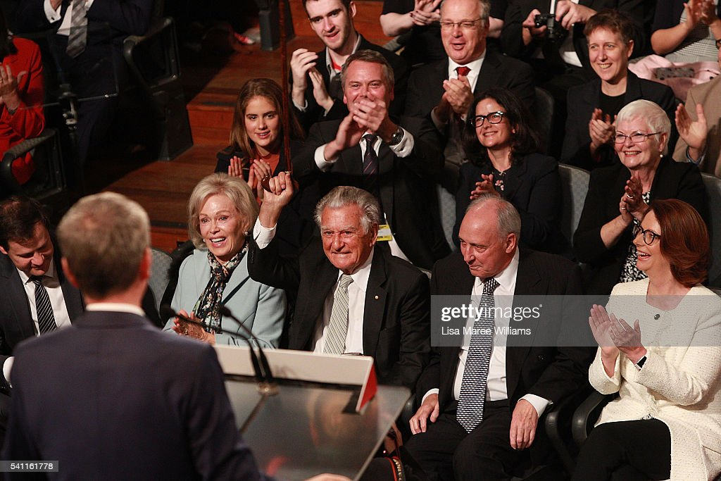 Leader of the Opposition Bill Shorten appears on stage as former Prime Ministers Bob Hawke, Paul Keating and Julia Gillard look on during the Australian Labor Party 2016 Federal Campaign Launch at the Joan Sutherland Performing Arts Centre on June 19, 2016 in Sydney, Australia. Labor leader Bill Shorten has pledged a $257 million jobs plan with tax breaks for businesses who hire mature age workers, people under 25 or mothers returning to work.