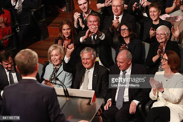Leader of the Opposition Bill Shorten appears on stage as former Prime Ministers Bob Hawke Paul Keating and Julia Gillard look on during the...