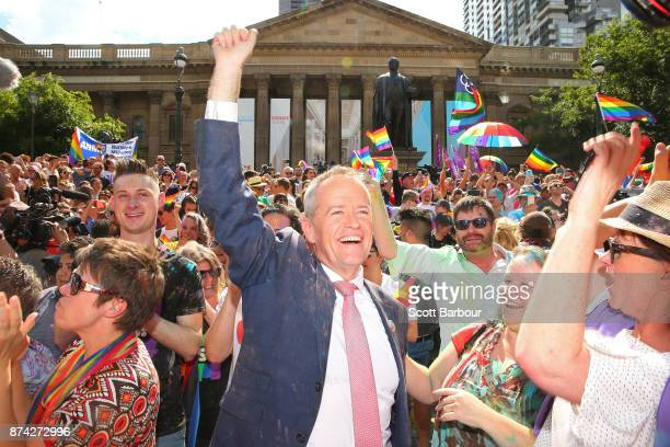 Leader of the Opposition Bill Shorten celebrates in the crowd as the result is announced during the Official Melbourne Postal Survey Result...