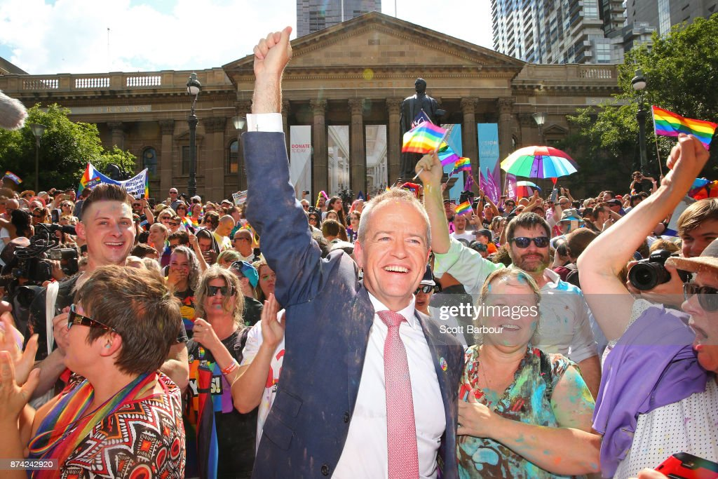 Leader of the Opposition Bill Shorten celebrates in the crowd during the Official Melbourne Postal Survey Result Announcement at the State Library of Victoria on November 15, 2017 in Melbourne, Australia. Australians have voted for marriage laws to be changed to allow same-sex marriage, with the Yes vote defeating No. Despite the Yes victory, the outcome of Australian Marriage Law Postal Survey is not binding, and the process to change current laws will move to the Australian Parliament in Canberra.