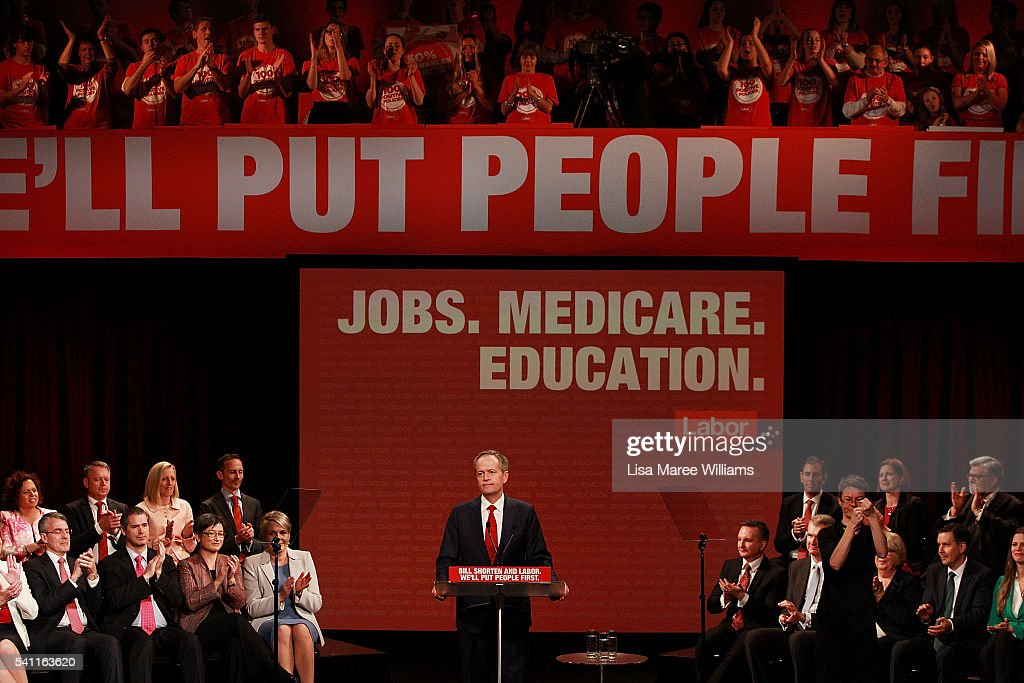 Leader of the Opposition Bill Shorten delivers a speech during the Australian Labor Party 2016 Federal Campaign Launch at the Joan Sutherland Performing Arts Centre on June 19, 2016 in Sydney, Australia. Leader of the Opposition Bill Shorten has pledged a $257 million jobs plan with tax breaks for businesses who hire mature age workers, people under 25 or mothers returning to work.