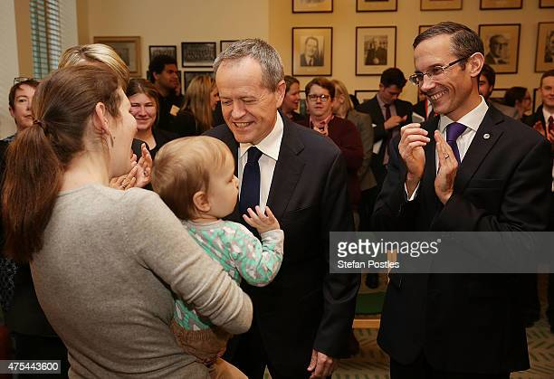 Leader of the Opposition Bill Shorten Deputy Leader of the Opposition Tanya Plibersek and Andrew Lee meet with supporters of marriage equality during...