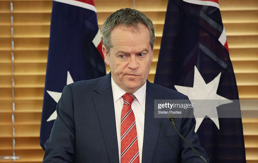 Leader of the Opposition Bill Shorten during a Labor Party caucus meeting at Parliament House on September 15, 2015 in Canberra, Australia. Malcolm Turnbull will become the 29th Prime Minister of Australia after he defeated Tony Abbott 54 votes to 44 in a snap leadership ballot on Monday night. Julie Bishop remains deputy leader of the Liberal party following the spill.