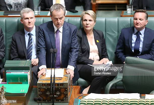 Leader of the Opposition Bill Shorten during House of Representatives question time at Parliament House on May 13 2015 in Canberra Australia The...