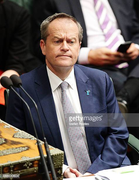 Leader of the Opposition Bill Shorten during House of Representatives question time at Parliament House on September 16 2015 in Canberra Australia...