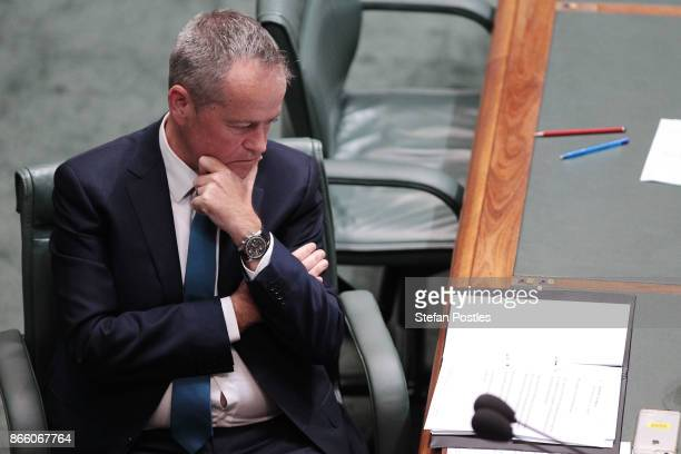 Leader of the Opposition Bill Shorten during House of Representatives question time at Parliament House on October 25 2017 in Canberra Australia The...