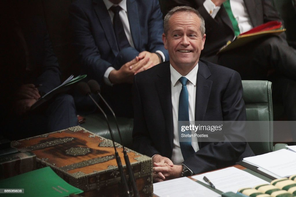 Leader of the Opposition Bill Shorten during House of Representatives question time at Parliament House on October 25, 2017 in Canberra, Australia. The Sydney and Melbourne offices of the Australian Workers Union' were raided by federal police yesterday as part of an investigation into donations made more than 10 years ago to the lobby group GetUp and to Labor candidates. Labor leader Bill Shorten has labelled the move as a smear campaign.