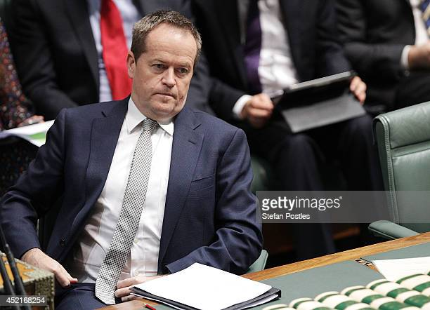 Leader of the Opposition Bill Shorten during Question Time at Parliament House on July 15 2014 in Canberra Australia A vote on the Government's...