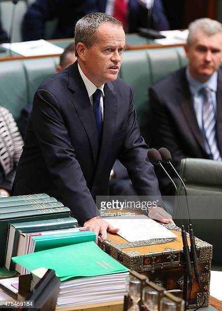 Leader of the Opposition Bill Shorten introduces the Marriage Equality Bill to the House of Representatives at Parliament House on June 1 2015 in...