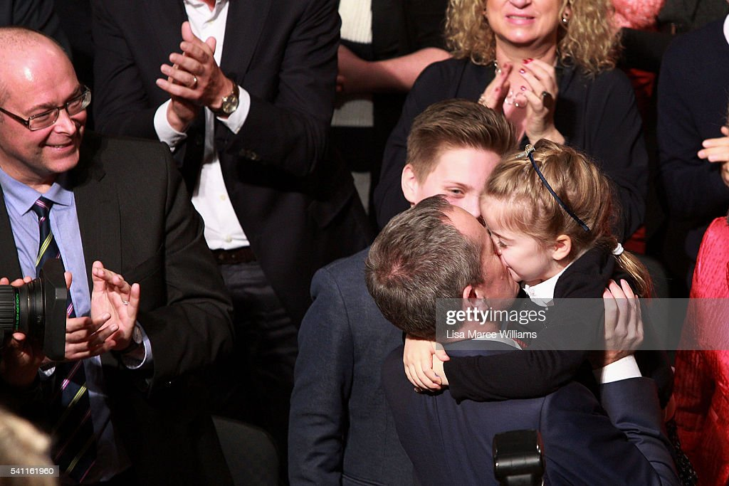 Leader of the Opposition Bill Shorten is greeted by his daughter Clementine during the Australian Labor Party 2016 Federal Campaign Launch at the Joan Sutherland Performing Arts Centre on June 19, 2016 in Sydney, Australia.