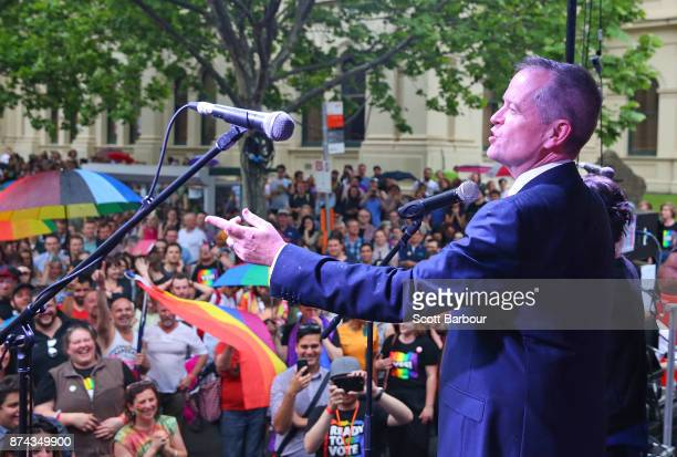 Leader of the Opposition Bill Shorten speaks on stage to supporters of the 'Yes' vote for marriage equality at Melbourne's Result Street Party on...
