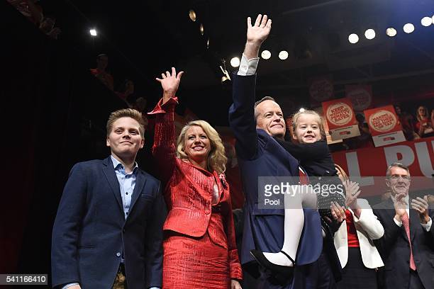 Leader of the Opposition Bill Shorten wife Chloe and children Rupert and Clementine at the Labor campaign launch at the Joan Sutherland Performing...