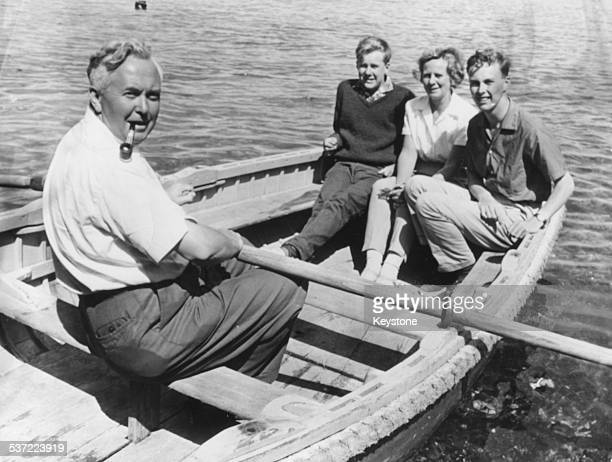 Leader of the Opposition Harold Wilson and his family relaxing on a rowing boat in the Scilly Isles August 14th 1963