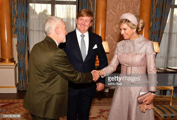 Leader of the Opposition Jeremy Corbyn greets King WillemAlexander of the Netherlands and Queen Maxima of The Netherlands during a private audience...